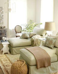 Cozy light green sun room