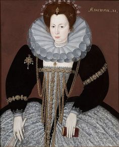 Portrait of an unknown lady aged 21, English School, c.1595-1600. Note especially how her conical ruff is constructed.