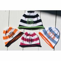 striped monogrammed beanie cap