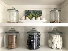 Jars in a black and