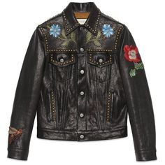Gucci Painted Leather Jacket ($4,835) ❤ liked on Polyvore featuring men's fashion, men's clothing, men's outerwear, men's jackets, jackets, leather jackets, men, ready to wear, mens studded jacket and mens floral jacket