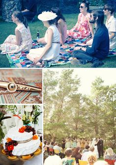 quilts in the grass for the guests, chairs only for the older guests --- Love it!!