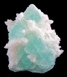 Green Fluorite octahedrons, climbing matrix of Quartz crystals,  American Tunnel Mine, CO