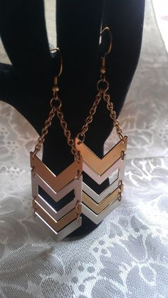 Chevron Earrings Geometric Silver and Gold by BabyGyrlJewelry, $12.00