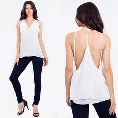 Blanked out double layer top Double layer whit cami top.  Plunging neckline can also be paired with a seamless cami. Woven material.  Absolutely stunning on. Please do not purchase this listing. Message me to create your own Lewboutiquetwo Tops