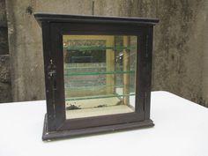 Medicine Cabinet Vintage Sterilizer Barber Shop Display Wood Glass Brass Latch