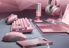 Razer has been a frontrunner in the RGB LED movement for years. It's fitting, then, that the gaming peripheral maker is expanding its Razer Quartz family to include even more hardware… and just in time for Valentine's Day. Best Gaming Setup, Gamer Setup, Gaming Room Setup, Computer Setup, Pc Setup, Gaming Computer, Gaming Rooms, Razer Gaming, Kawaii Bedroom