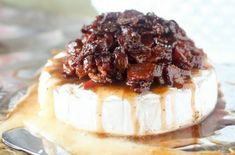 Gooey baked brie cheese topped with sweet and salty bacon candy. Brie Au Four, Candied Bacon, My Jam, Baked Brie, Sweet And Salty, Pork Recipes, Camembert Cheese, Pineapple, Brunch