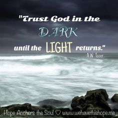 A W Tozer - trust God in the dark until the light returns Scripture Quotes, Bible Verses, Scriptures, A W Tozer, Hope Anchor, True Happiness, Soul Searching, Words Of Encouragement, Trust God