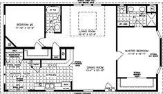 Manufactured Home Floor Plan: The T N R • Model TNR-4463B  2 Bedrooms, 2 Baths