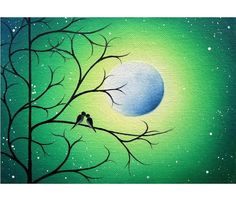 Silhouetted Love Birds on a Tree Print, Modern Wall Art, Archival Photo Print of Birds on Tree Branch, Whimsical Art, Green Night Dreamscape Chalk Pastel Art, Chalk Pastels, Love Birds Painting, Tree Print, Whimsical Art, Modern Wall Art, Bird Prints, Stone Painting, Photographic Prints