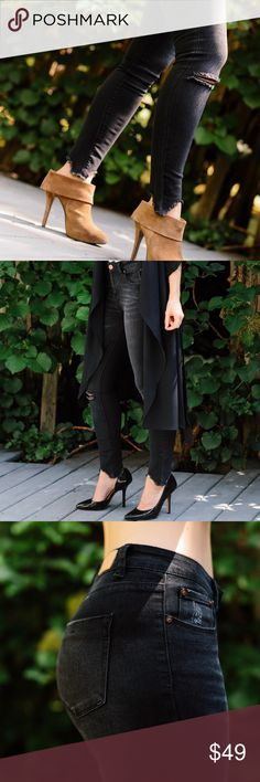 """Back in! Rosé Faded Black Jeans ◽️LOVE! Chic faded black skinny jeans with frayed hem. Perfect to wear with booties + stilettos during the Fall. Gorgeous distressed detailing + rose gold hardware. Cotton, rayon, poly, spandex --SOFT, comfy, stretchy. Feel amazing on. Well made + premium quality. Price firm.   ▫️9.5"""" rise, 26.5"""" approx inseam including fringe, taken from the 5 ▫️I'm modeling the 3, fits me true to size Waist across: Size 1: 12.5"""" Size 3: 13"""" Size 5: 13.5"""" Size 7: 14"""" Size 9…"""