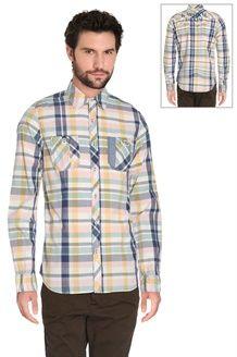 Camisa aos quadrados<Br> Azul-marinho e amarelo