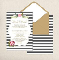 Little Posy Print striped wedding invite   onefabday.com