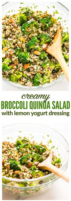 Creamy Broccoli Quinoa Salad with Greek Yogurt Lemon Dressing. Healthy and protein packed! Perfect for make ahead meals, light lunches, and potluck side dishes. {gluten free} Recipe at wellplated.com (Vegan Gluten Free Meals)