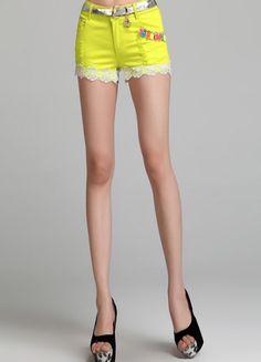 Yellow Lace Trim Ripped Cotton Short  $31.52 Yellow Lace, Red Lace, Cotton Shorts, Lace Trim, Fashion, Red Ribbon, Moda, Fashion Styles, Fashion Illustrations