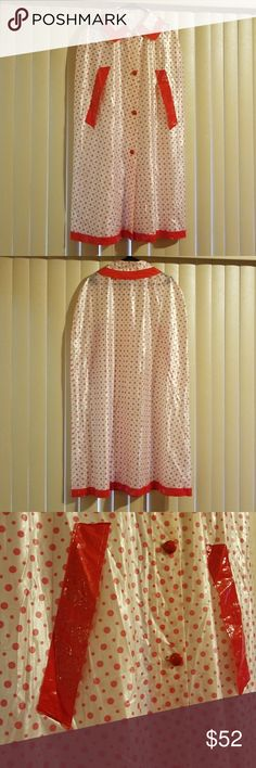 Vintage cape raincoat Beautiful Vintage cape for the rainy day Red and pink Has a couple or marks on plastic look at pics SIZE XL SHOULDER TO HEM 43 BUST 52  Open to reasonable offers Jackets & Coats Capes