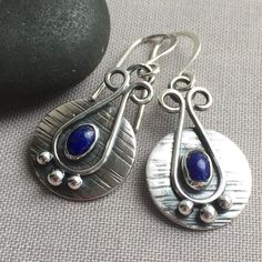 Oxidized Silver Earrings with Lapis Lazuli.