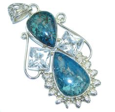 $63.95 Big++Blue+Azurite+&+Cubic+Zirconia+Sterling+Silver+Pendant at…