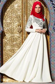 Muslima Wear Nakışlı Elbise 35001 Ekru