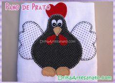 Pano de prato com galinha de Angola em patch aplique   Drika Artesanato - O seu Blog de Artesanato.