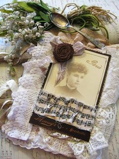 antique lace and cabinet photo mixed media journal