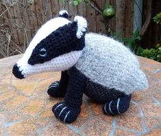 Bradley the Badger - Amigurumi Crochet Pattern (Available in English Language only) Bradley is a cute baby badger who loves digging around for worms and foraging for juicy strawberries. He has a big love of adventure and makes new friends wherever he travels. His beautiful markings