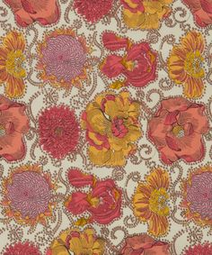 Liberty print Lucy Daisy Tana Lawn from the Liberty Art Fabrics collection | Detailed design of various cultivated flowers designed by the Liberty Fabric design studio drawn in 'Nudie' style