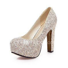 Women's Heels Spring Summer Fall Glitter Wedding Office & Career Party & Evening Chunky Heel Sequin Gold White Blue - AUD $48.60 ! HOT Product! A hot product at an incredible low price is now on sale! Come check it out along with other items like this. Get great discounts, earn Rewards and much more each time you shop with us!