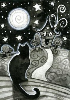 Items similar to The Witching Hour - print - by Brenna White - witch black cat moon stars fall autumn halloween on Etsy Illustrations, Illustration Art, White And Black Cat, Black Cats, Gatos Cat, Image Chat, Halloween Art, Halloween Halloween, Whimsical Art