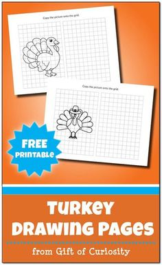 These Turkey Drawing Pages blend art (drawing) and math (finding coordinates on a grid) for a great Thanksgiving STEAM activity. Each page includes a Halloween image imposed on a grid on the left side, and a blank grid for your child to draw a copy of the image on the right side.