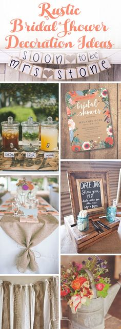 2016 Bridal Shower Ideas for rustic themed parties. Mason Jar accents, colorful rustic flowered bridal shower invitations, burlap banners as decorations. Love all of the shabby chic rustic bridal shower decor.