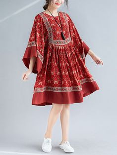 Johnature Summer Dresses 2019 New Bohemian Red Floral Print O-neck Batwing Wrist Sleeve Female Casual Korean Comfortable Dress Stylish Dresses For Girls, Frocks For Girls, Simple Dresses, Casual Dresses, Fancy Dress Design, Girls Frock Design, Stylish Dress Designs, Beautiful Pakistani Dresses, Pakistani Dresses Casual