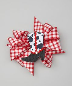 Take a look at this Red Gingham Bow & Boot Clip Set by Picture Perfect Hair Bows on #zulily today!