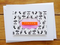 Cover card with Washi and die cut opening for sentiment