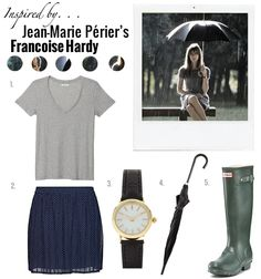 Inspired by Jean-Marie Périer's photography of Francoise Hardy. 1. StyleMint Abbot Kinney T2. Mango Skirt3. ASOS Watch4. Forever21 Umbrella5. Hunter Rain Boots