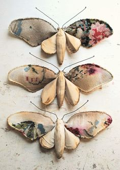 mister finch the master of fabric fauna does it again with these textile art moth sculptures he is a genius in vintage victorian style faux taxidermy craft Fabric Art, Fabric Crafts, Kimono Fabric, Floral Fabric, Textiles, Mister Finch, Art Du Croquis, Fabric Butterfly, Butterfly Art