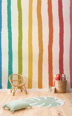 Whether your kids' room makeover is full of fun colours coated in floral prints styled with a safari theme or covered. Striped Wallpaper Vertical, Geometric Triangle Wallpaper, Bright Wallpaper, Food Wallpaper, Balloon Arch Diy, Bird Prints, Floral Prints, Inspiration Wall, Stripes Design