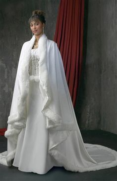 Fur Trimmed Long Satin Cloak Style Code: 06682 $64