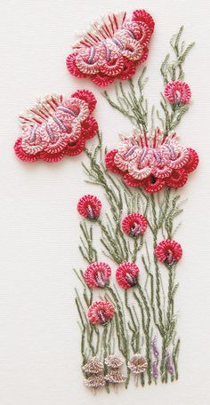 crewel embroidery with crochet?do I file it under crochet or embroidery? This is Brazilian Dimensional Embroidery (BDE) using Rayon threads and Milliners needles crewel embroidery + crochet/tatting/etc for relief Brazilian Embroidery Designs by Maria Frei Brazilian Embroidery Stitches, Learn Embroidery, Rose Embroidery, Japanese Embroidery, Silk Ribbon Embroidery, Hand Embroidery Designs, Cross Stitch Embroidery, Embroidery Patterns, Embroidery Thread