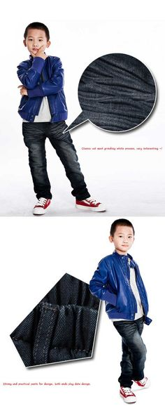 Free Shipping Spring Clothing Boys Cool Jeans New Style Kids Wear Long Trousers K0299