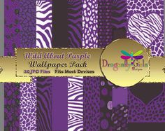 WILD About Purple Digital Wallpapers for Mobile Devices, Instant Download, Zebra Leopard Animal Print