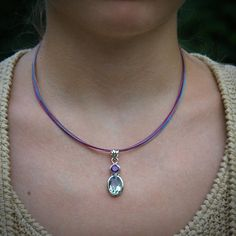 Purple and Green Amethyst Drop Necklace Sterling Silver