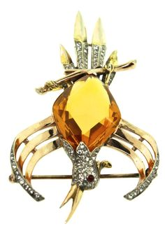 Rare Lrg Philippe TRIFARI Sterling Rhinestone BIRD Phoenix Figural Brooch Pin