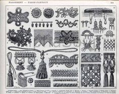 French 1920's black and white engraving of various passementeries, tassels and trims.