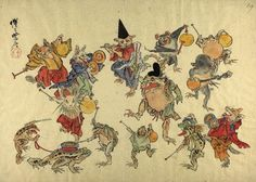 Animals with musical instruments dancing round a shintoist frog Kawanabe Kyosai (Japanese, 1831-1889),