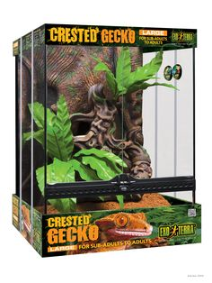 "Crested Gecko Habitat Kit with tribal art - Large - 18"" x 18"" x 24"" / Exo Terra"