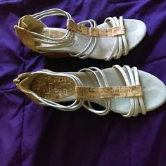 Silver espadrille wedges Great summer shoe..excellent condition...not too high...just enough wedge. Comfy! deflex comfort Shoes Espadrilles