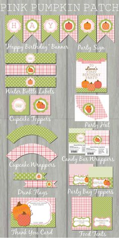 Pumpkin Patch Fall Birthday Party Kit, Pumpkins, Autumn, Brown, DIY,  Banner, Polka Dot, Chevron, Fall, Printable, Water Labels, Toppers on Etsy, $25.00