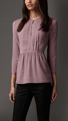 Burberry London Pleated Stretch-Silk Shirt